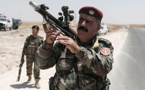 Peshmerga fighters have taken up the mantle of limiting the growth of ISIS in the region since the downfall of the Iraqi army (Source of picture: aranews.com)