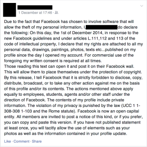 "An example of one of the many ""Facebook notices"" being posted on Facebook [original photo]"
